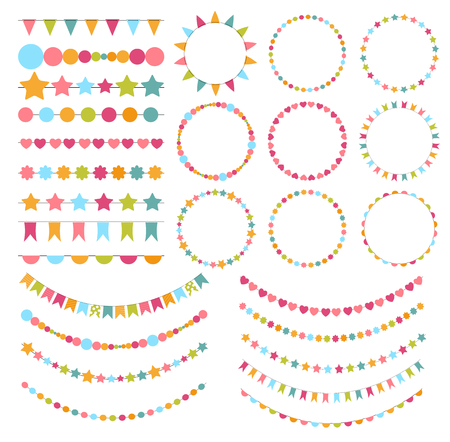 Party Flags, Buntings,  Brushes for Creating a Party Invitation Illustration