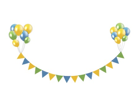 Party Design Element with Flags and Balloons Isolated on White Background Vector Illustration