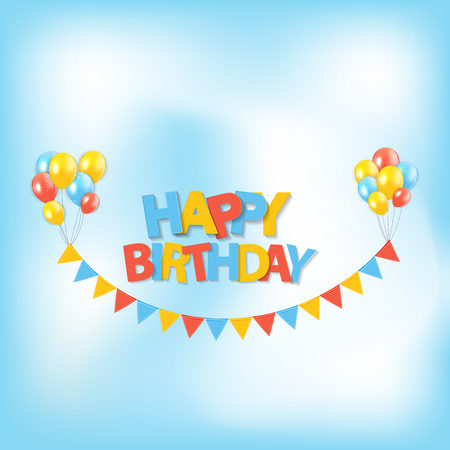 Happy Birthday Party Background with Flags and Balloons Vector Illustration