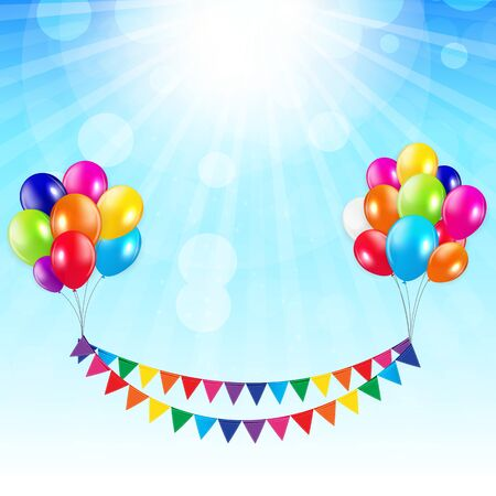 Party Background with Flags and Balloons Vector Illustration. Illustration