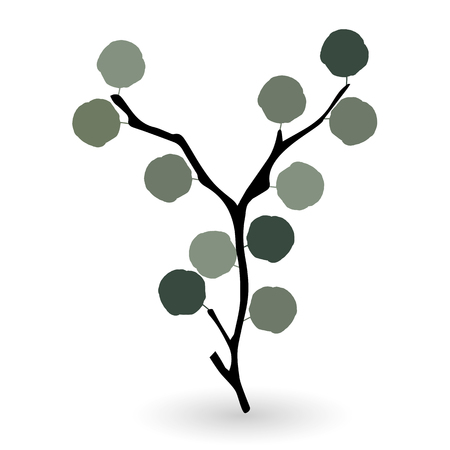 Colorful naturalistic green leaves on branch. Illustration