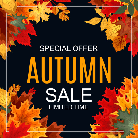 autumn background: Abstract Vector Illustration Autumn Sale Background with Falling leaves Illustration