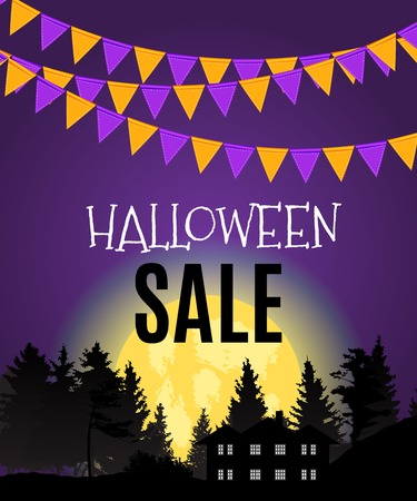 Halloween Sate Poster Background Template. Vector illustration
