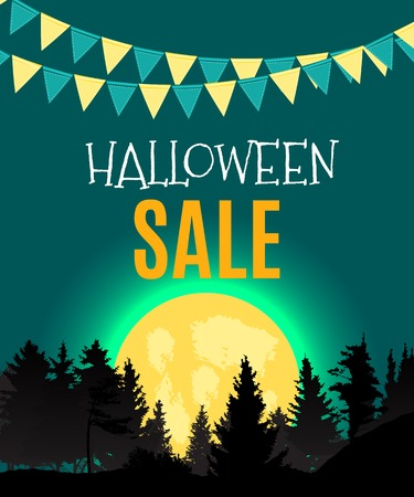 Halloween Sate Poster Background Template. Vector illustration EPS10