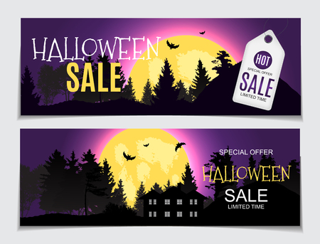 Abstract vector illustration Halloween sale background.