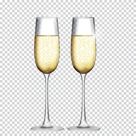 Twee Glas Champagne Geïsoleerd Op Transparante Achtergrond. Vectorillustratie Stockfoto - 87534324