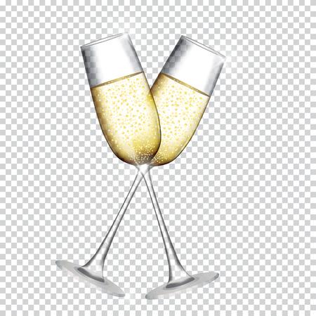 Dwa kieliszki do szampana na przezroczystym tle. Ilustracja wektorowa