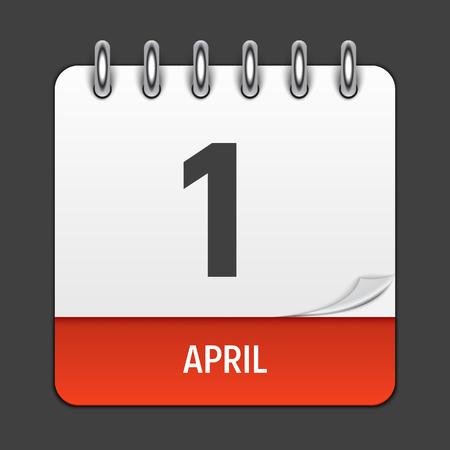4 월 1 일 일정 매일 아이콘. 벡터 일러스트 레이 션 엠 블 럼입니다. 장식 Office 문서 및 응용 프로그램을위한 디자인 요소. 일, 날짜, 월 및 공휴일의 로