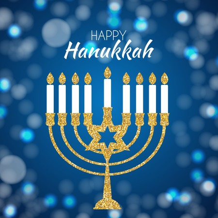 Happy Hanukkah, Jewish Holiday Background. Vector Illustration. Hanukkah is the name of the Jewish holiday. Vettoriali