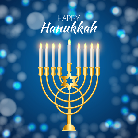 Happy Hanukkah, Jewish Holiday Background. Vector Illustration. Hanukkah is the name of the Jewish holiday. Illustration