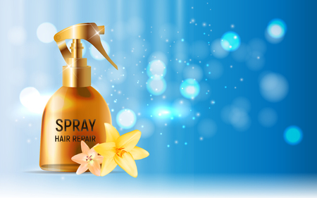 Hair Repair Spray Cosmetic Product Template for Ads or Magazine Background.