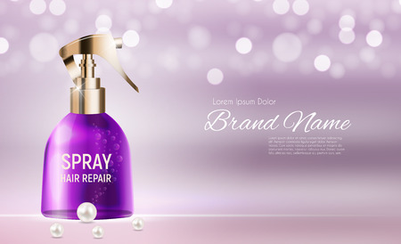 Hair spray ad template in realistic illustration.