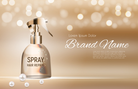 Design hair repair spray cosmetics product template for ads or magazine background. 3D realistic vector illustration