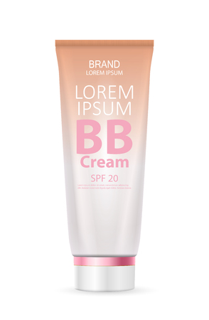 BB Cream Bottle Template for Ads or Magazine Background. 3D Realistic Vector Iillustration