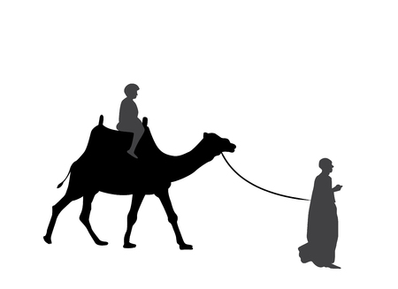 Black and White Silhouette of a Camel with a Bedouin. Vector Illustration. Çizim