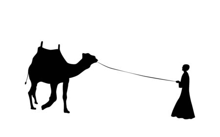 Black and White Silhouette of a Camel with a Bedouin. Vector Illustration. Stock Photo