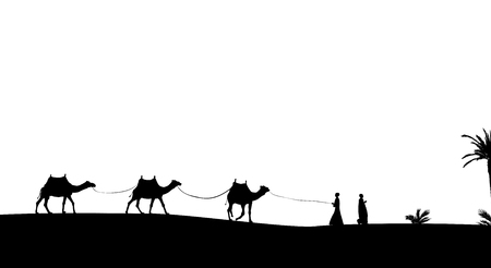 Silhouette of Caravan mit people and camels wandering through the deserts with palms. Vector Illustration. EPS10 Çizim