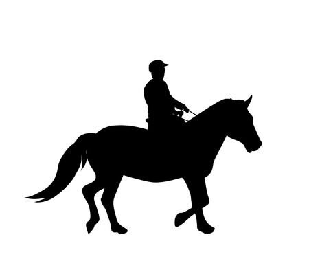 Sticker to car silhouette rider on horse. Vectores