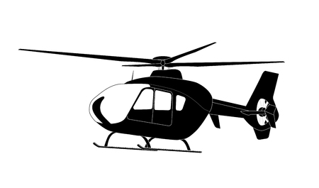 Sticker on car Silhouette of helicopter. Illustration