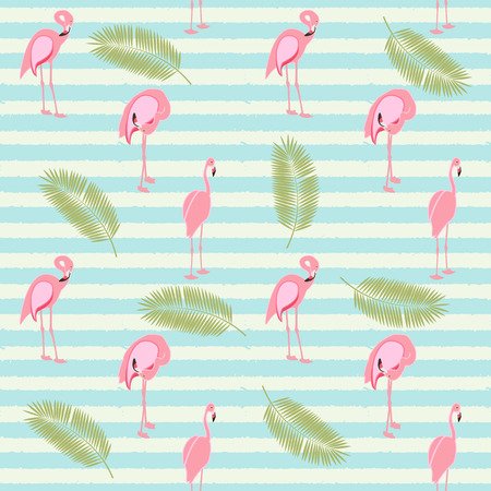 Colorful Pink Flamingo Seamless Pattern Background. Vector Illus