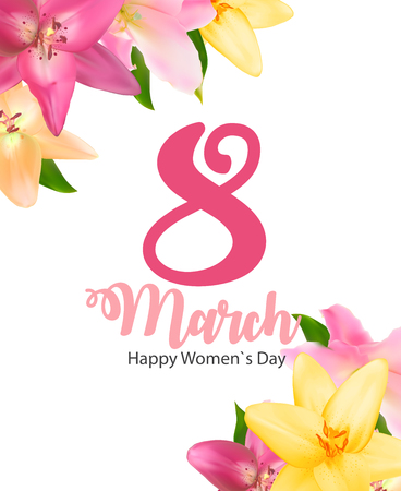 Poster International Happy Womens Day 8 March Floral Greeting card Vector Illustration