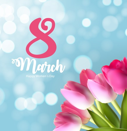 Poster International Happy Womens Day 8 March Floral Greeting c