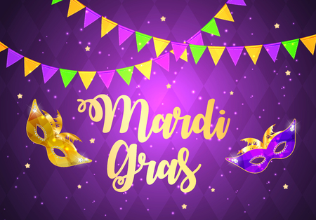 Mardi Gras Brochure Template.Celebration Greeting Card Backround. Vecor Illustration EPS10