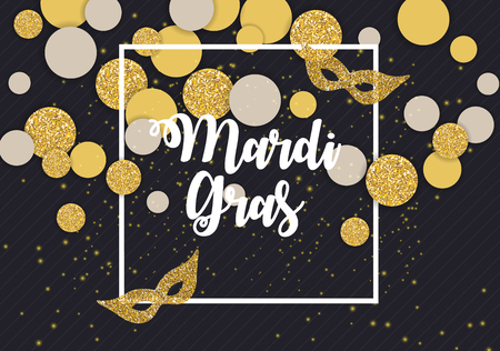 Mardi Gras brochure template celebration greeting card background vector illustration.
