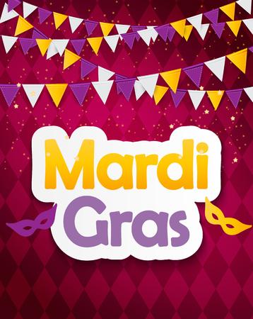 Mardi Gras Brochure Template.Celebration Greeting Card Backround. Vecor Illustration EPS10