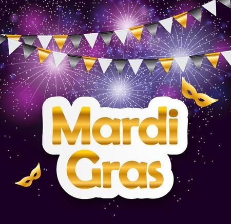 Mardi Gras Brochure Template.Celebration Greeting Card Background.