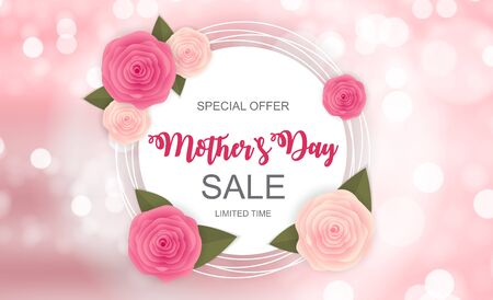 Happy Mother`s Day Cute Sale Background with Flowers. Vector Illustration EPS10 Illustration