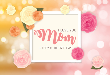 Happy Mother`s Day Background with Flowers. Vector Illustration EPS10