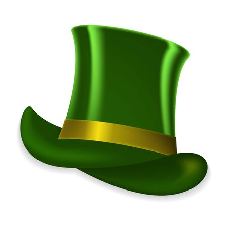 Colorful green hat on spring holiday of St. Patrick on white background. Vector Illustration. EPS10