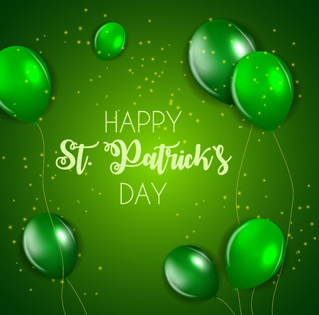 Happy Saint Patricks Day Background with Balloons. Vector Illustration EPS10