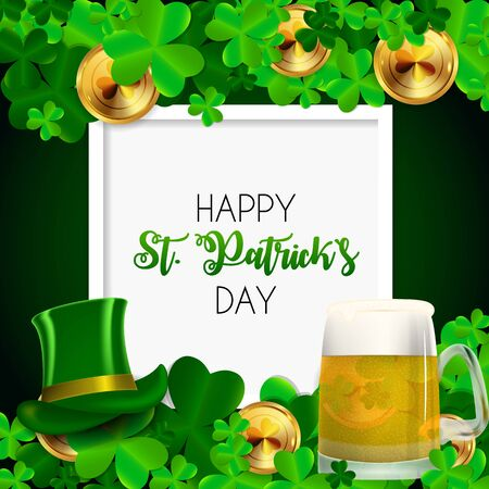 Happy Saint Patricks Day Background with Clover Leaves. 일러스트