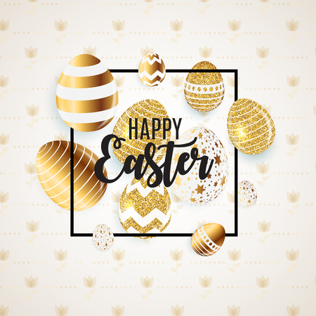 Happy Easter Cute Background with Eggs. Çizim