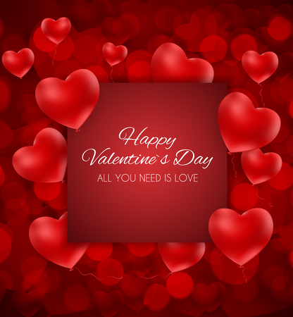 Valentines Day Heart Love and Feelings Background Design. Vector illustration. Ilustração