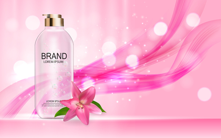 Design Cosmetics Product Template for Ads or Magazine Background. 3D Realistic Vector Iillustration. Vectores