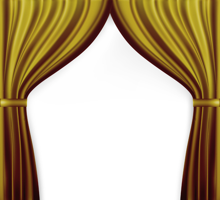 Naturalistic image of Curtain, open curtains red color. Vector Illustration.Naturalistic image of Curtain, open curtains Gold color. Vector Illustration
