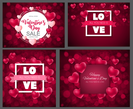 Valentines Day Heart  Love and Feelings Background Design Collection Set Cards. Vector illustration EPS10