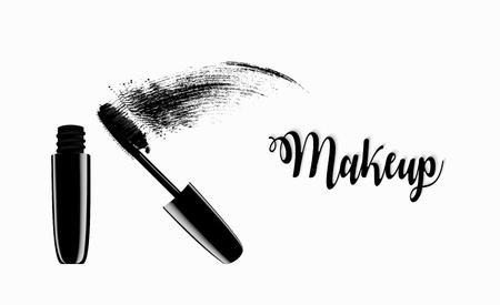 Model of a jar of mascara for eyelashes. Vector Illustration. Stock Illustratie