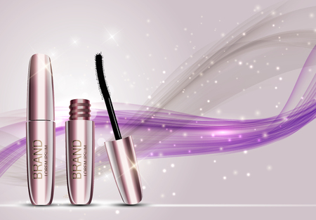 Fashion design makeup cosmetics product template for advertisement or magazine background. Mascara product series report 3D realistic vector illustration. Illustration