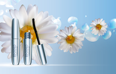Fashion design makeup cosmetics product template for ads or magazine background. Mascara product series report. 3D realistic vector illustration. Illustration