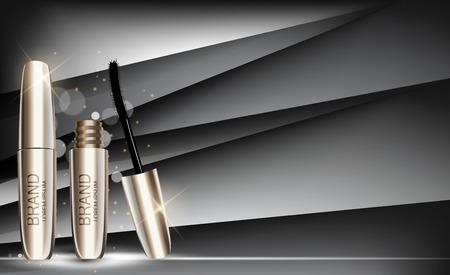 패션 디자인 메이크업 화장품 광고 또는 잡지 배경에 대 한 제품 템플릿. 마스카라 제품 시리즈 Reportv 3D 현실적인 벡터 일러스트. EPS10