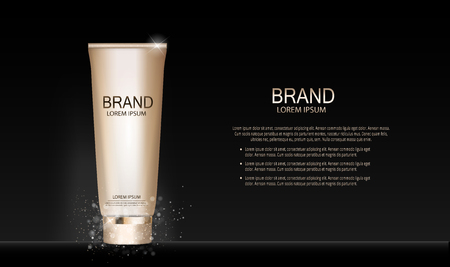 Fashion Design Makeup Cosmetics Product Template for Ads or Magazine Background. Mascara Product Series Reports 3D Realistic Vector illustration. EPS10.