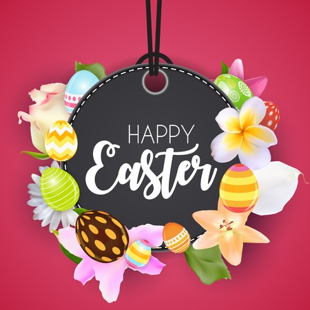 Happy Easter Cute Background with Eggs. Vector Illustration.
