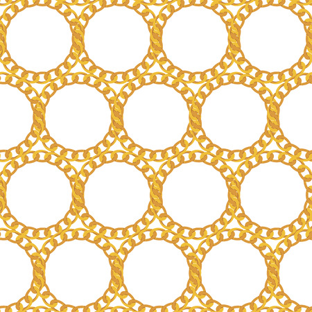 Gold Chain Jewelry Seamless Pattern Background. Vector Illustration.