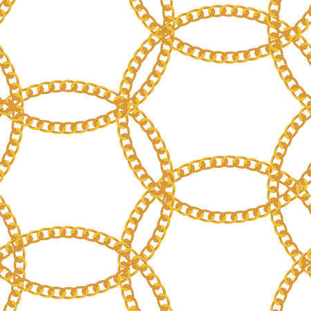 Gold Chain Jewelry Seamless Pattern Background. Vector Illustration
