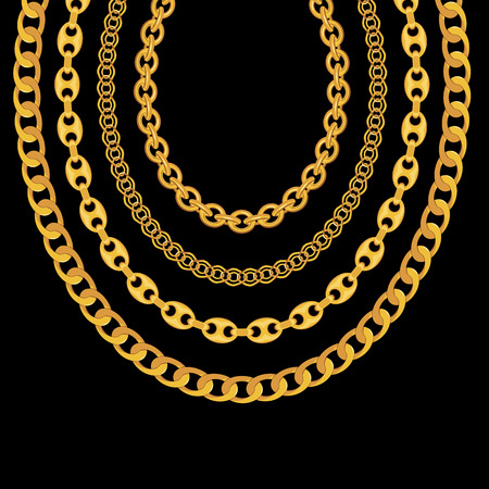 Gold Chain Jewelry on Black Background. Illustration