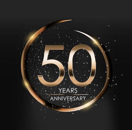 Template Logo 50 Years Anniversary Vector Illustration  イラスト・ベクター素材